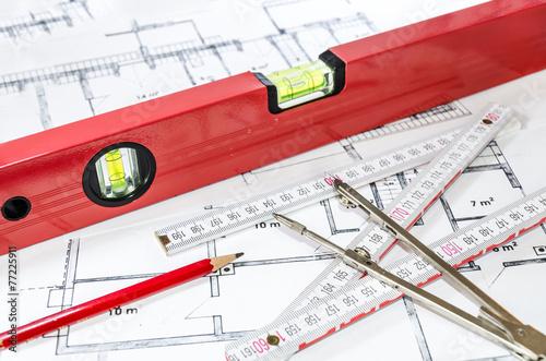 Fotografie, Obraz  Vermessung Bauplan
