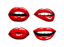 Set Of Woman Hot Red Lips