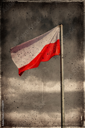 Plakat Old Grunge Poland Flag texture and background.