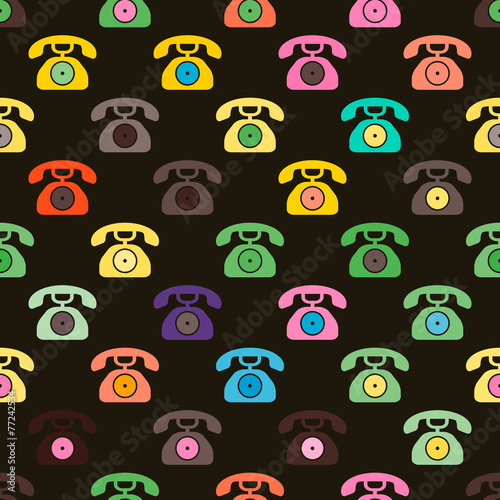 Carta da parati seamless background with telephone icons for your design