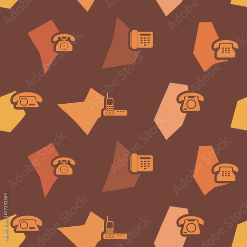 seamless background with telephone icons for your design Fototapete