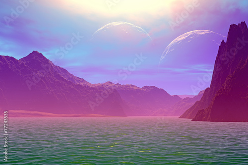 Poster Bordeaux 3D rendered fantasy alien planet. Rocks and moon