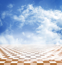 Blue Sky With Clouds Reflected In The Yellow Checkerboard Floor