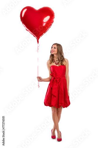 Attractive Valentine's Day girl with balloon Poster