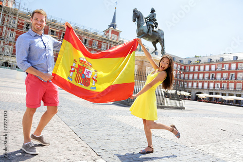 Photo  Spanish flag - People showing Spain flag in Madrid
