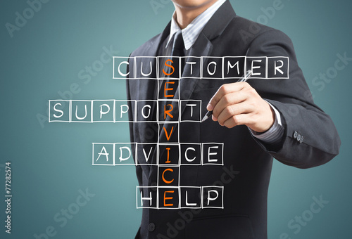 Fotografie, Obraz  Business man writing customer service concept