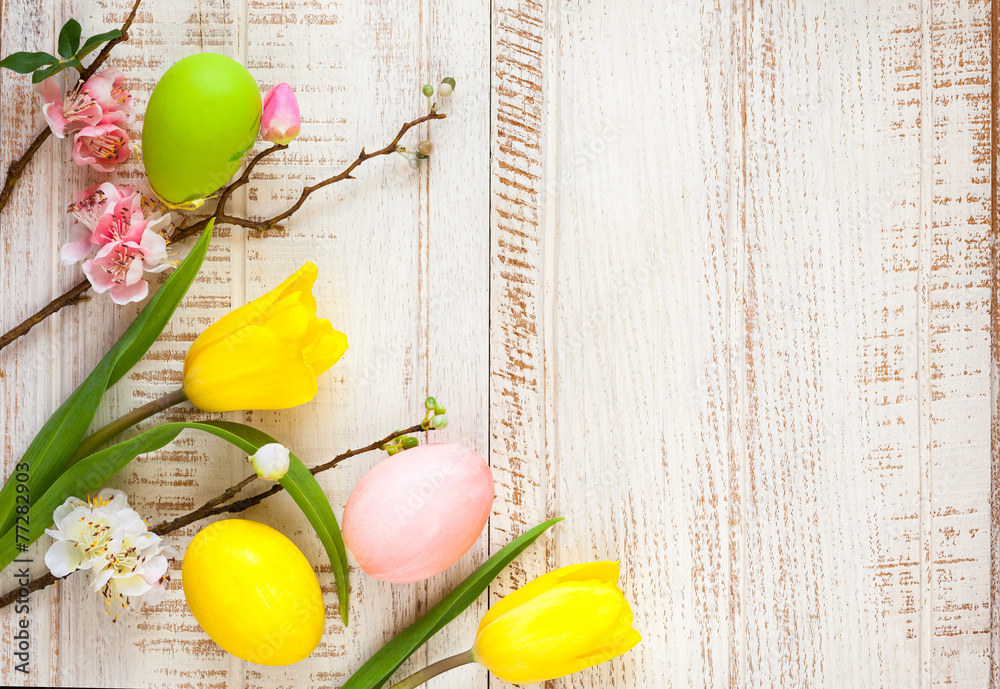 Easter Eggs And Spring Flowers Foto Poster Wandbilder Bei Europosters