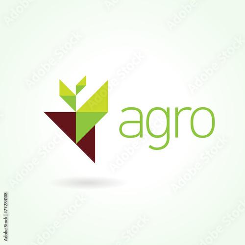 Agro symbol emblem sign. Leaf green Wallpaper Mural