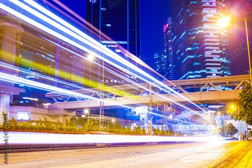 Fototapety, obrazy: traffic light trails at modern city street,hongkong.