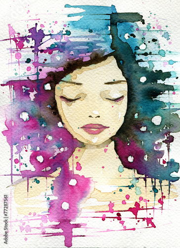 Canvas Prints Painterly Inspiration pink and blue woman