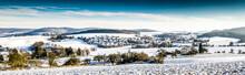 Panorama Verschneite Hügellandschaft Im Spessart