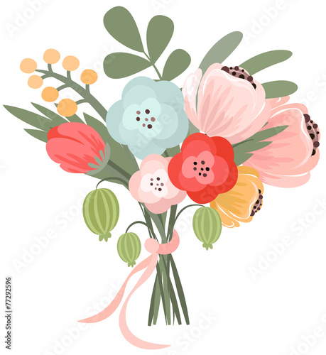 Fotografie, Tablou Vector illustration of beautiful bridal bouquet