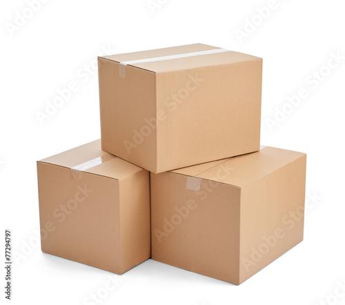 Obraz box package delivery cardboard carton stack - fototapety do salonu