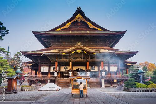 Photo Stands Temple Zenkoji Temple, Nagano, JAPAN.