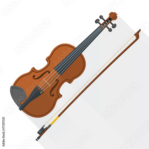 color flat style vector violin fiddle bow on white