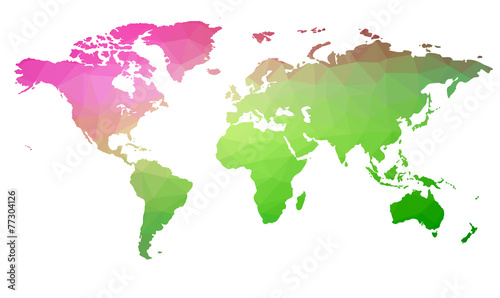 Fotomural Map of the world in triangles. Raster 3