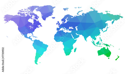 Photo  Map of the world in triangles. Raster 2