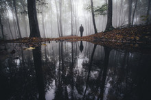Man Reflection In Lake In Fantasy Forest In Autumn