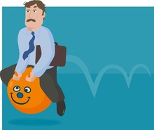 Businessman On A Space Hopper
