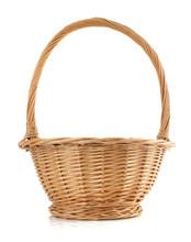 Wicker Basket On White Backgro...