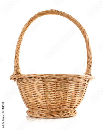 Fotografie, Obraz  wicker basket on white background