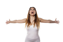 Happy Young Woman With Arms Open