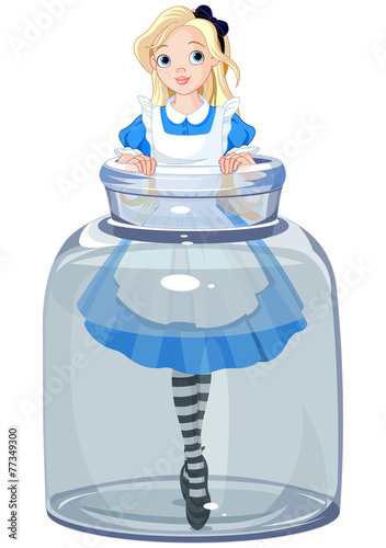 Printed kitchen splashbacks Fairytale World Alice in the jar