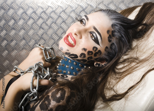 Printed kitchen splashbacks young sexy woman with leopard make up all over body, cat bodyart