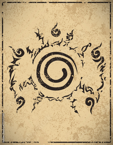 Conjugate Nine-tailed fox in Cartoon Naruto grunge background, v Canvas Print