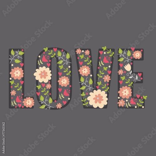 Poster Fleur love font flowers