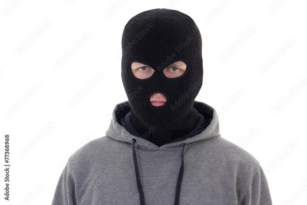 Fototapeta criminal man in black mask isolated on white