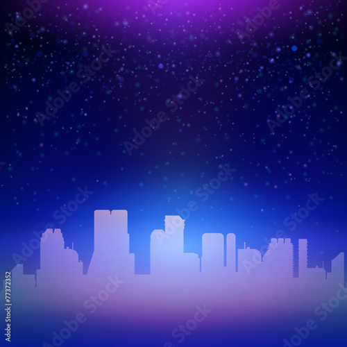 Blue night city sky with stars background