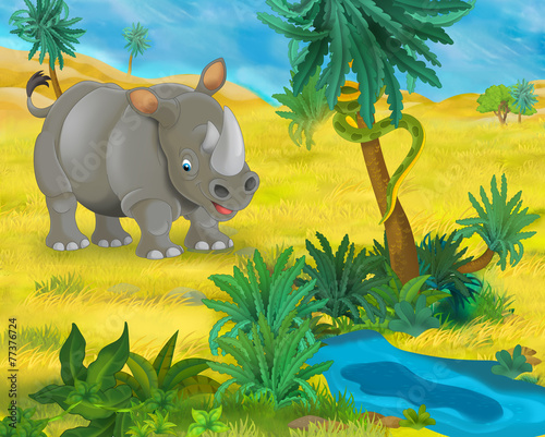 Cartoon scene - wild Africa animals - rhino - illustration for the children