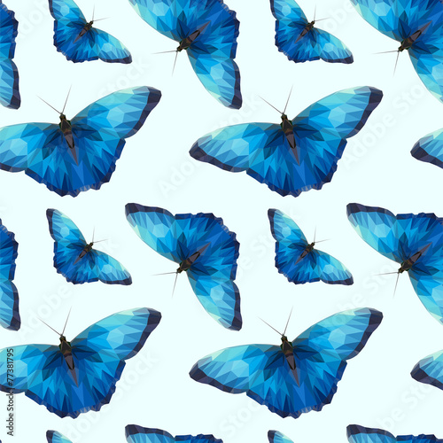 a lot of blue butterfly pattern edges and triangles #77381795