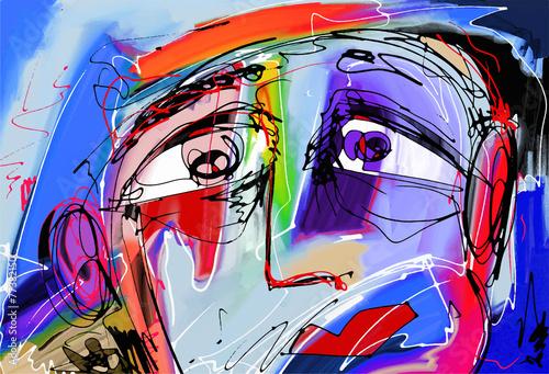 Fototapeta reprodukcje  abstrakcyjne-cyfrowe-malowanie-ludzkiej-twarzy