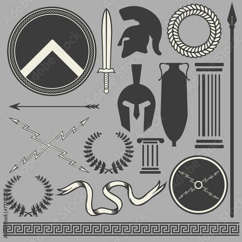 Fotografie, Obraz  Old greek roman spartan set icons