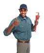 Plumber with wrench isolated white background.