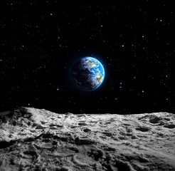 Fototapeta Kosmos Views of Earth from the moon surface