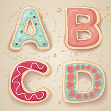 Hand Drawn Letters A Through D...