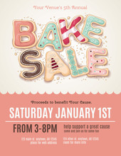 Hand Drawn Bake Sale Cookies On A Flyer Or Poster Template