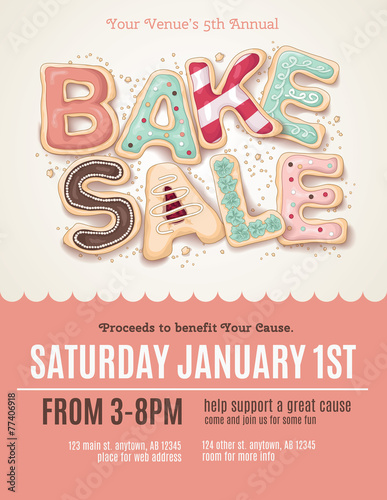 Hand Drawn Bake Sale Cookies On A Flyer Or Poster Template Buy