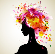 Beautiful Women With Abstract ...
