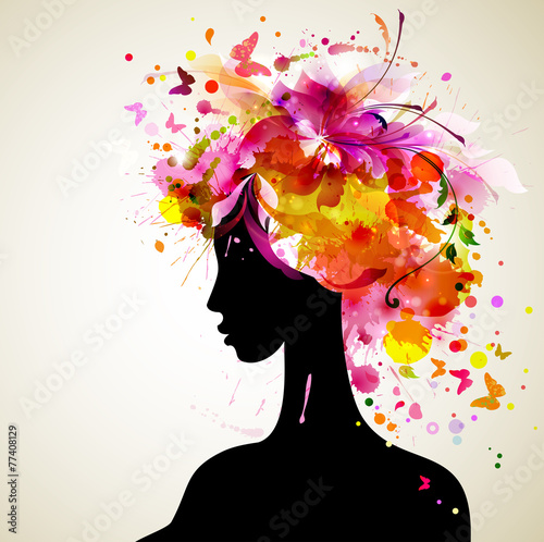 Photo Stands Floral woman Beautiful women with abstract hair and design elements