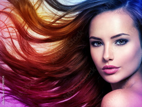 Beautiful woman with long brown hair. Tinted art photo Poster