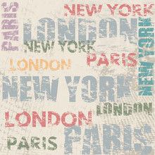 Typographic Poster With City Names London, Paris And New York