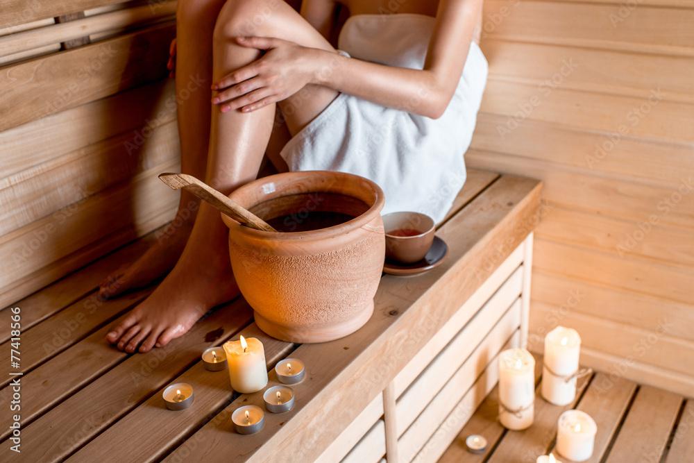 Fototapeta Woman in sauna