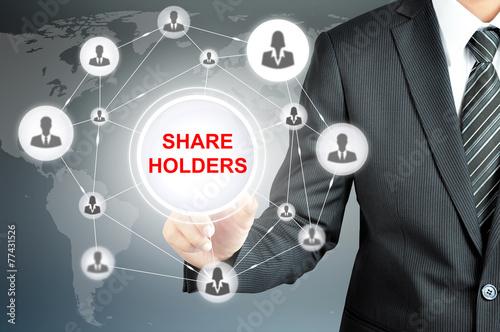 Fotografía  Businessman pointing on SHAREHOLDERS sign on virtual screen