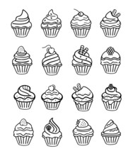 Vector Cupcake Black Doodle Icon Set