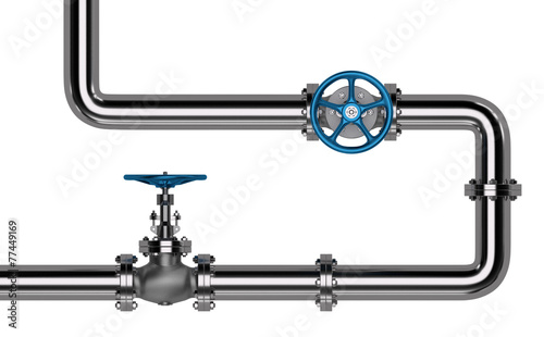 Photo  Pipes with Valves isolated. 3D render