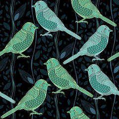 Tapeta Floral seamless pattern with birds. Cartoon vector background.